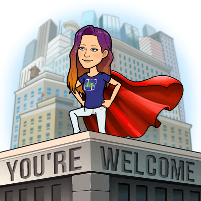 """AJ's avatar poses as a millennial super hero, standing on a building engraved with the words """"you're welcome""""."""