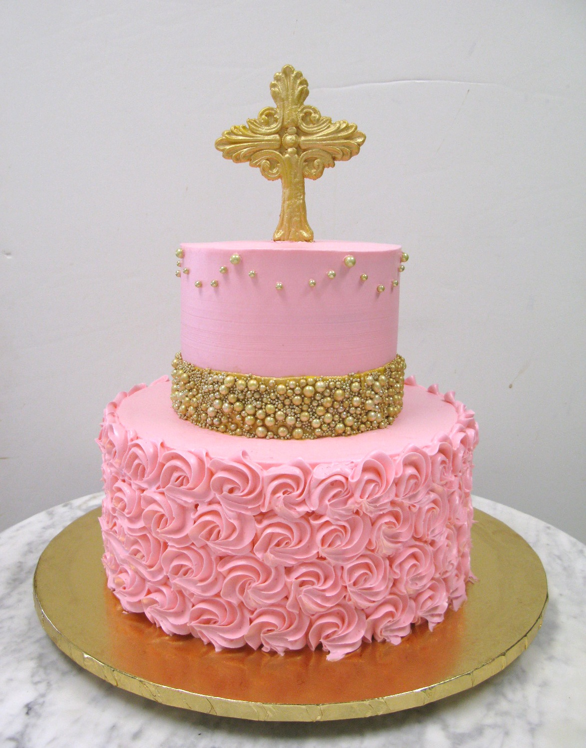 Pink Rosettes Gold Dragees Mother Mousse