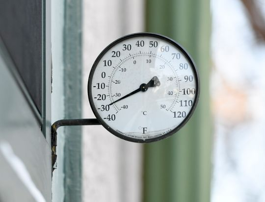 A thermometer in Minneapolis registers -30 degrees Fahrenheit on Jan. 30, 2019.