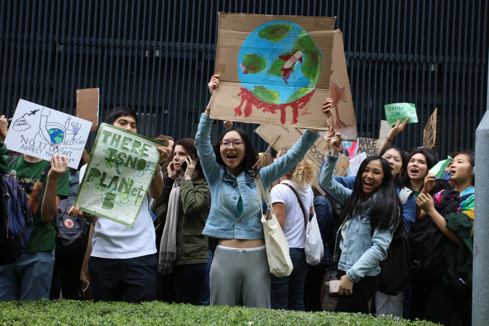 School students in Hong Kong who are deciding not to attend classes and instead take part in demonstrations to demand action to prevent further global warming and climate change.