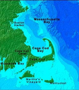 a map showing the arm of cape cod wrapping around the cape cod bay