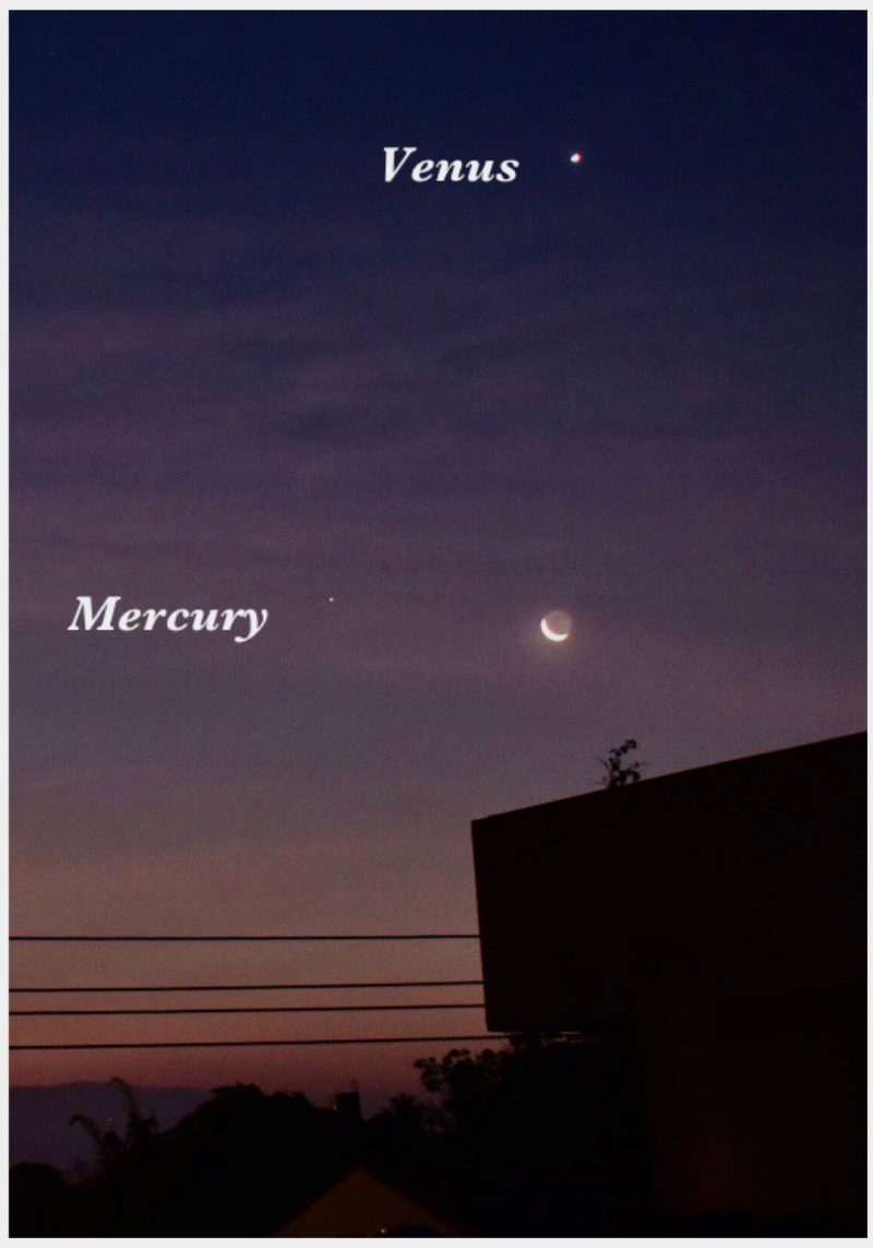 Dawn is just breaking, with Venus above and Mercury and the moon below.
