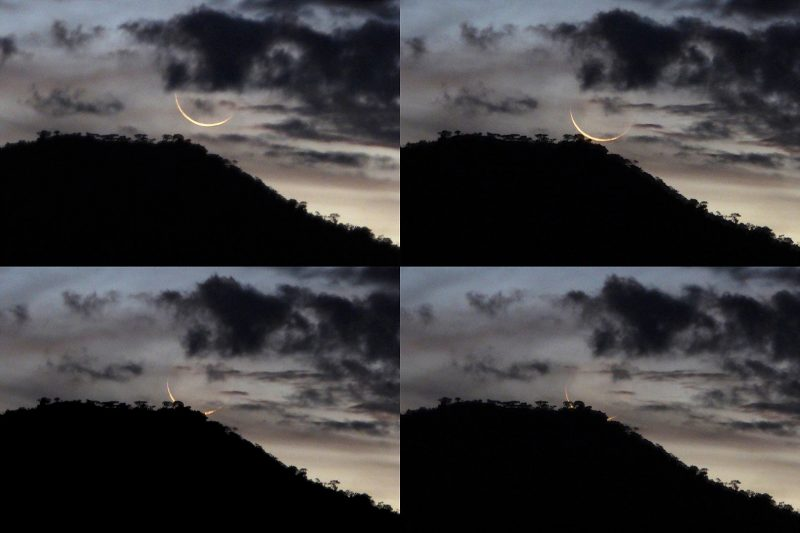 Four photos of the young moon setting behind the rim of a mountain.