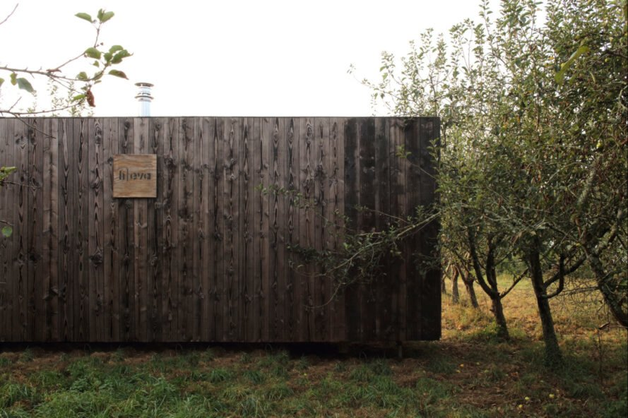 cabin with charred timber cladding