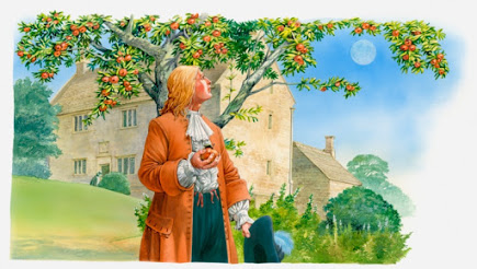 Man in 17th century garb holding an apple in his hand and looking at the moon through an apple tree.