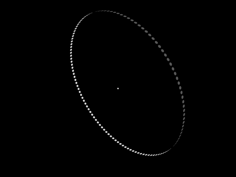 Large ring of small dots orbiting a star.