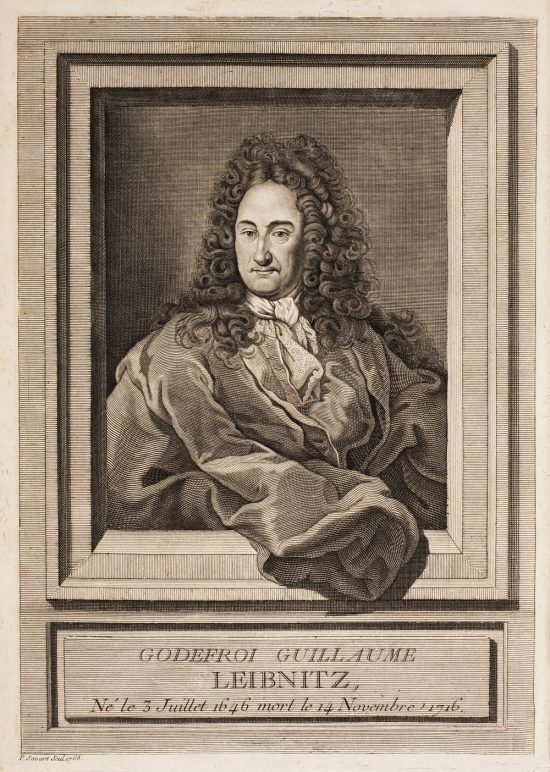 Antique etching of older man with long curly hair in a windowframe.