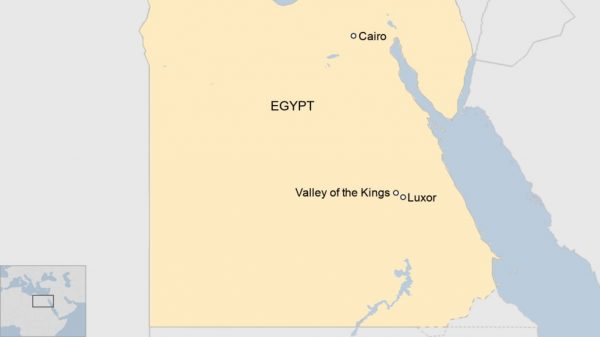 A map showing Luxor and the Valley of Kings.