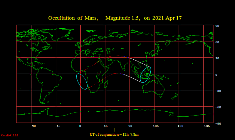 Worldwide map of the lunar occultation of Mars on April 17, 2021
