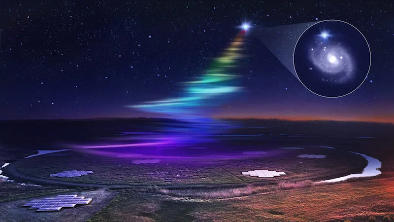 Waves of colored light from bright star to flat radio telescope arrays at night. Inset with spiral galaxy.