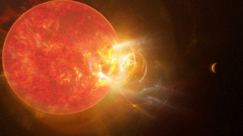 A big red star, with a giant flare erupting from one side.