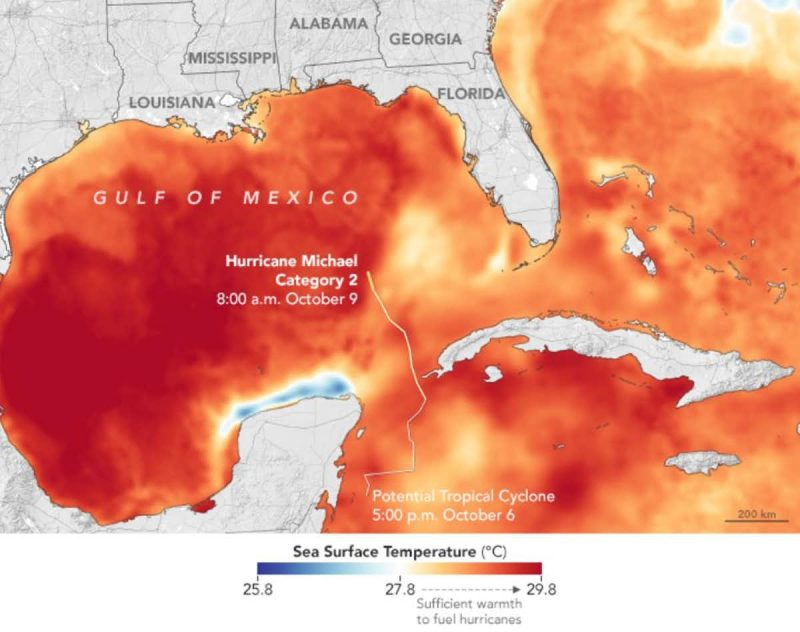 Gulf of Mexico and Caribbean with a lot of orange to red coverage indicating high water temperature.