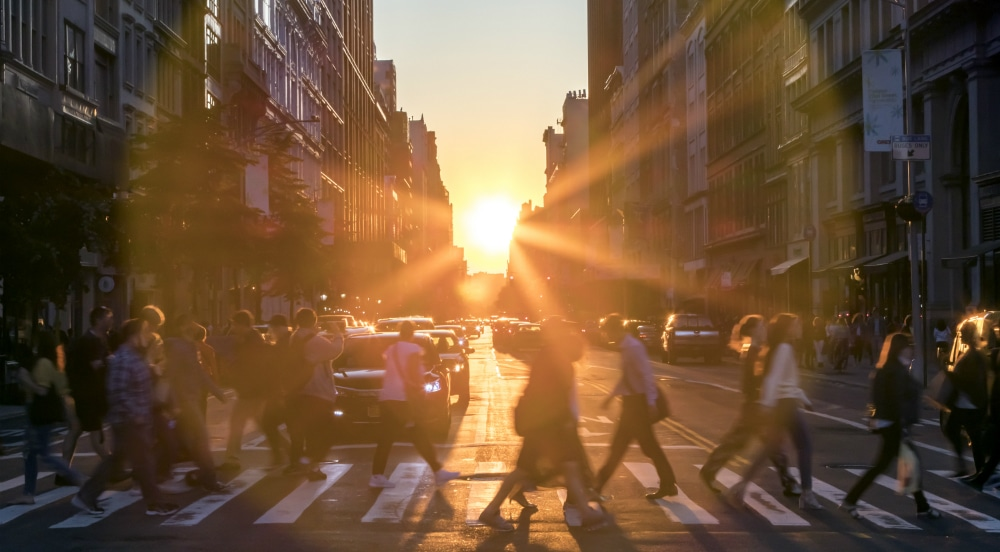 Manhattanhenge is the sun setting between tall buildings in New York City.