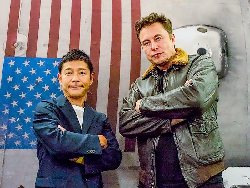 Maezawa and Musk are pictured side-by-side with their arms crossed, looking too cool to handle.