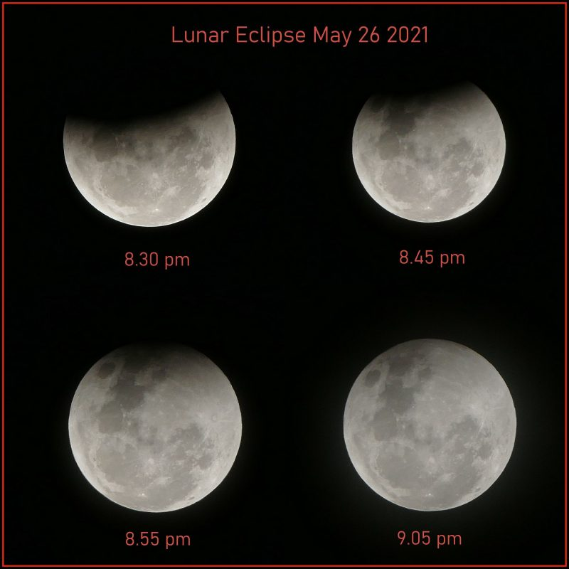 Four views of the moon in a lunar eclipse photo.