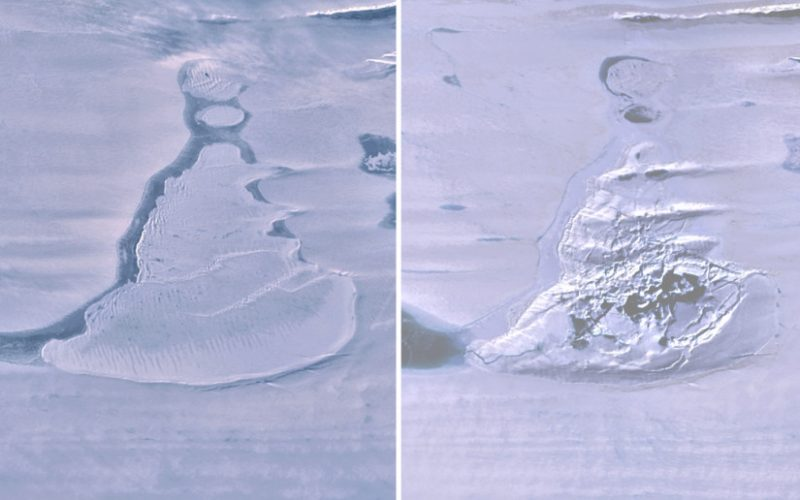 Side-by-side images of an Antarctic lake with ice-covered water, right side water drained.