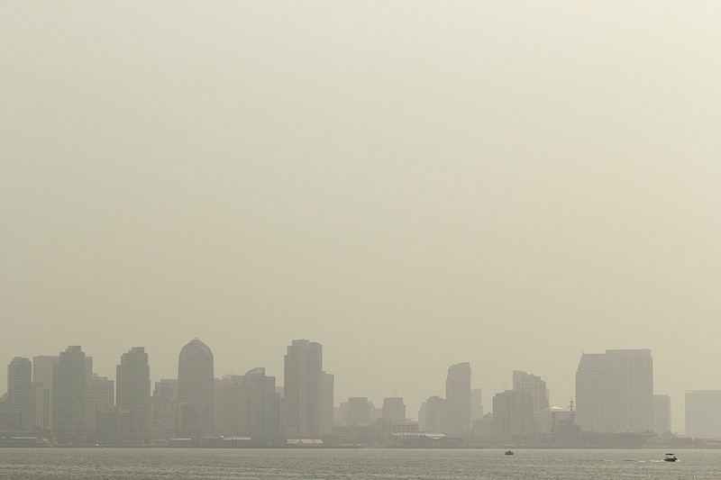The orange haze covering the San Diego skyline on Sept. 15, 2020, because of ...