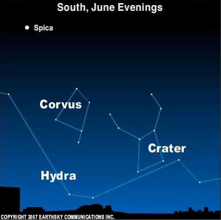 Chart showing constellations labeled Corvus, Hydra, and Crater.
