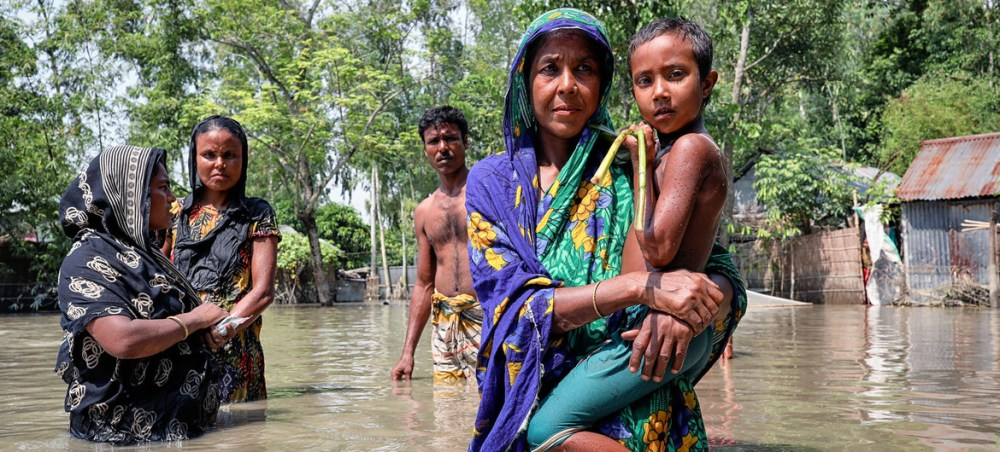 Floods in Bangladesh have destroyed homes in remote villages in Islampur.
