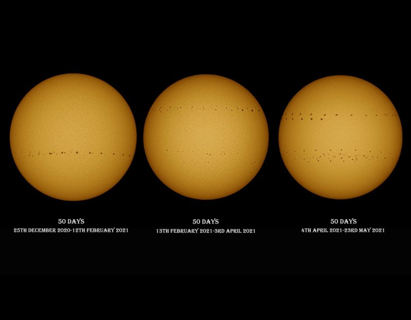 Three images of the sun, showing an increasing number of sunspots on each image.