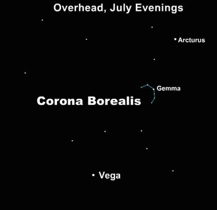 Star chart with Arcturus and Vega labeled and small northern crown constellation between them.