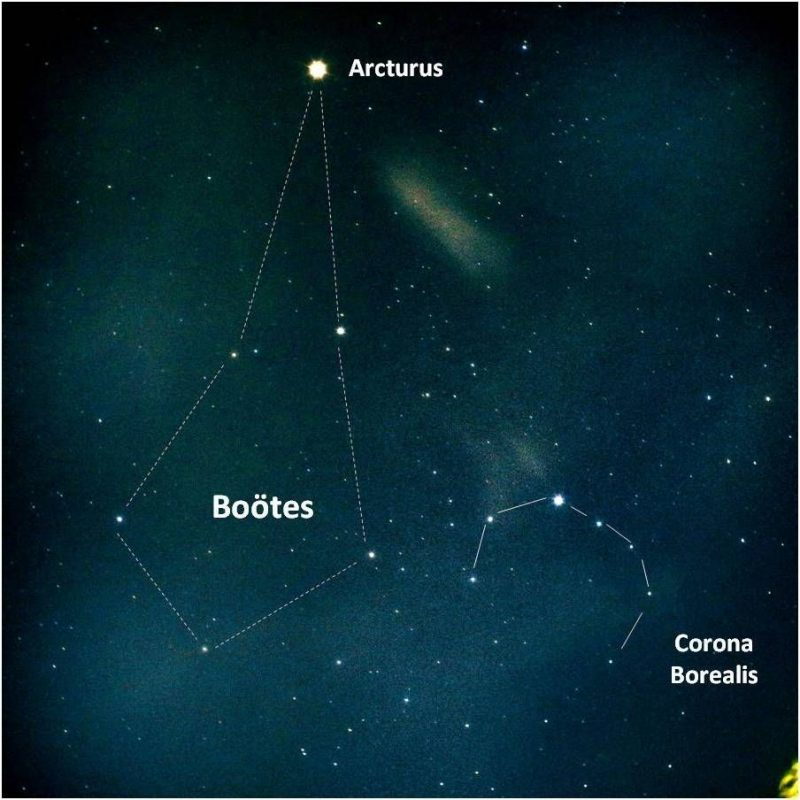 Kite-shaped Bootes with star Arcturus at its 'tail' and C-shaped northern crown nearby.