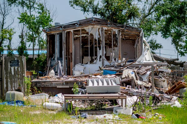 A destroyed home in Lake Charles, La., on Saturday. The city has struggled to rebuild after it has been hit by one natural disaster after another in the past year.