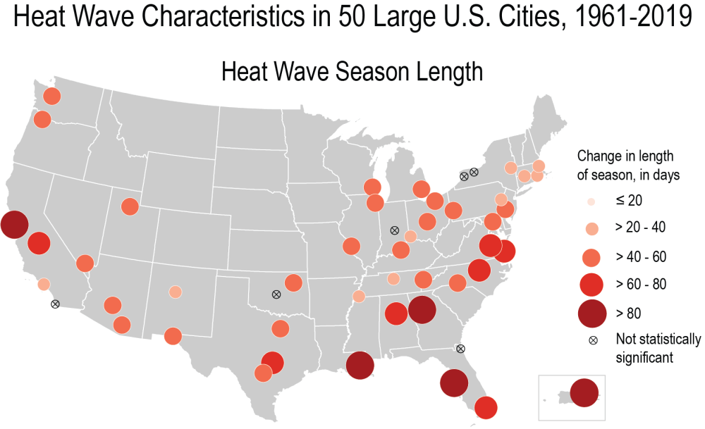 Map showing cities in the Southeast in particular will see the longest heat seasons