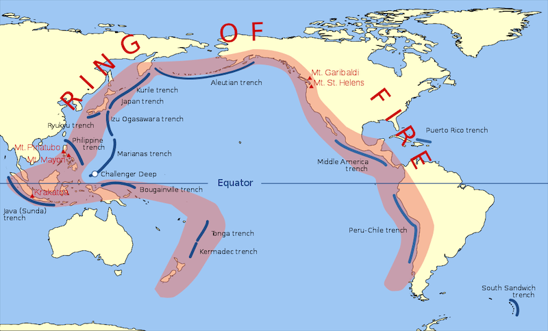 A map of the continents tracing out the Ring of Fire in red. Also marked in blue are the locations of subduction zones.