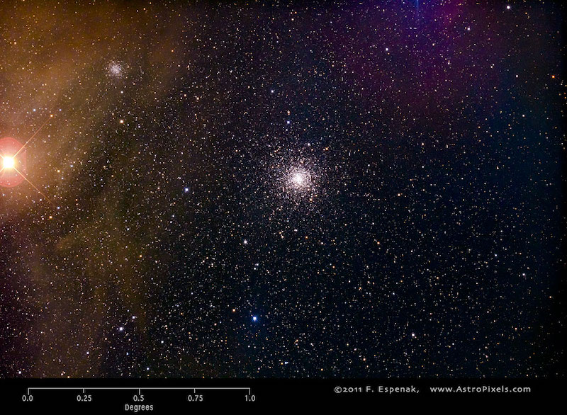 Bright reddish star on the left, small, compact, spherical grouping of very many stars at center.