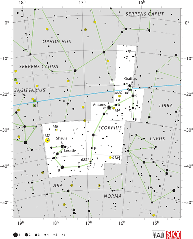 A star map with stars in black on white showing the constellation Scorpius.