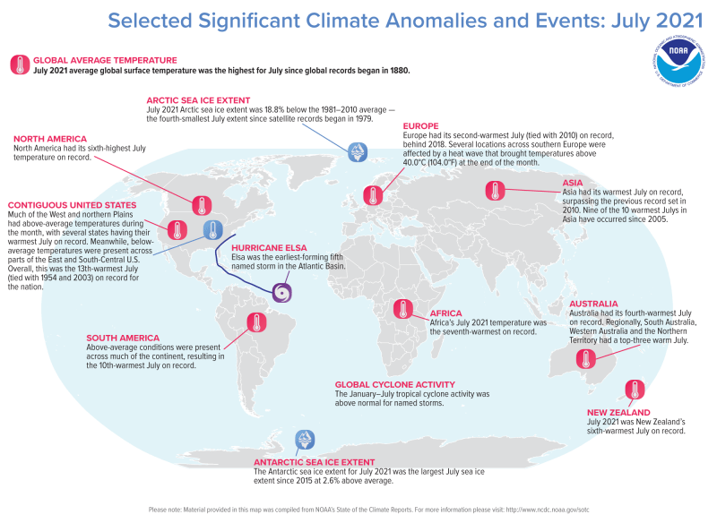Oval map of world with 12 widely distributed, annotated spots representing climate events.