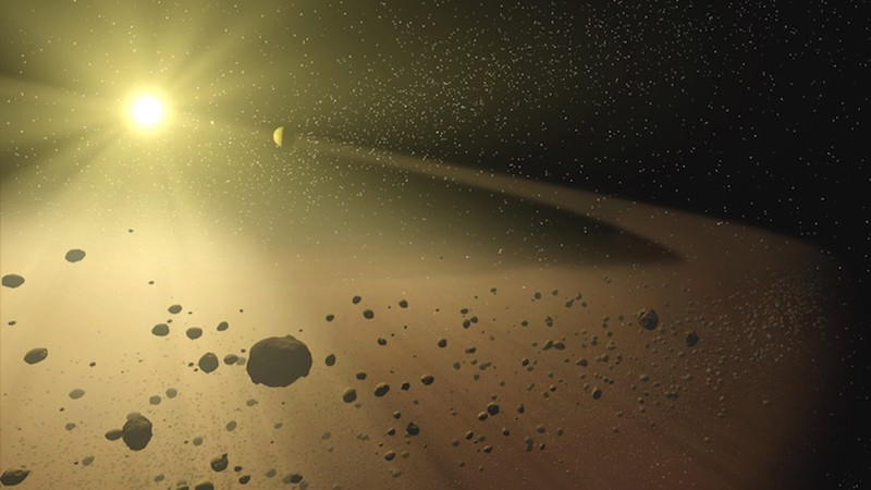 Ring of rocky objects around the distant sun.