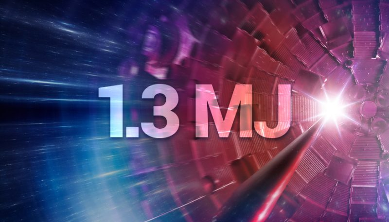 Nuclear fusion ignition: Red and blue explosion-like graphic with 1.3 MJ written on it.