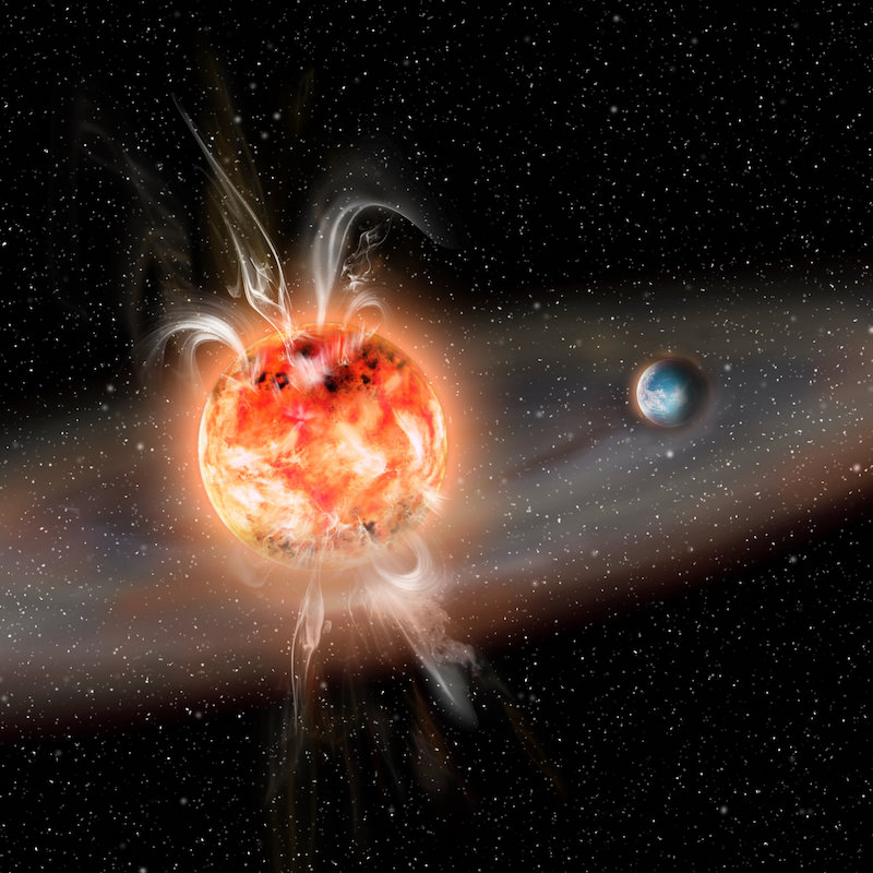 Red dwarf planets: Bright red star with huge flares at poles and nearby planet.