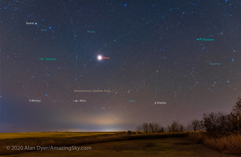 Annotated image showing the outlines of the constellations, labels for planets and satellite trails, against a starry night landscape.