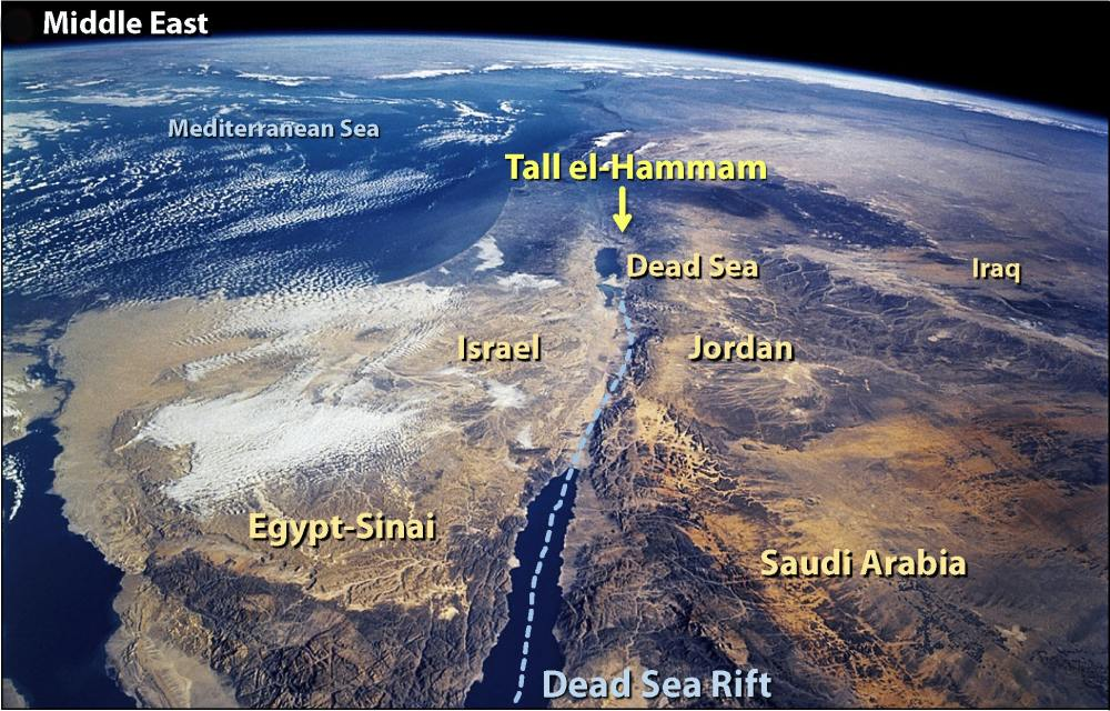 Bible story of Sodom: Satellite image showing of Middle East with Tall el-Hammam labeled near Dead Sea.