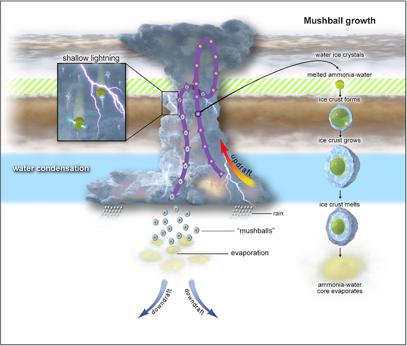 Diagram of tall cloud, gas currents, lightning, and mushballs forming and sinking through atmosphere.