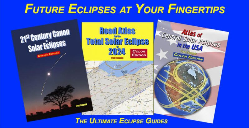 Ad showing 3 of Fred Espenak's eclipse publications.