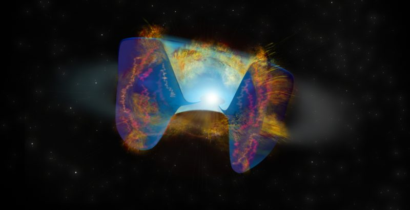 Star collision triggers supernova: Multi-colored explosion, slightly resembling a butterfly.