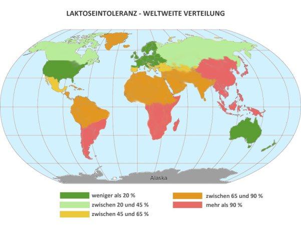 Verteilung Laktoseintoleranz