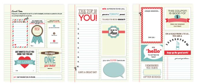 free printables lunch notes