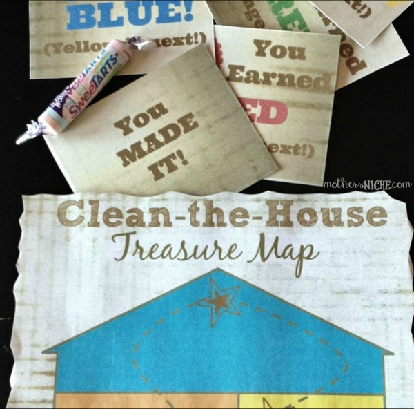 Clean-the-House Treasure Map. So fun for motivating hard work