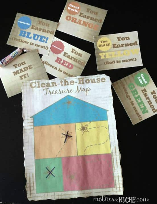 Clean-the-House Treasure Map. Such a fun way to make house work FUN!