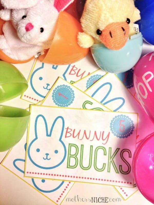 "Bunny bucks to hide in Easter Eggs to be redeemed in the ""Bunny Shop"" for fun prizes"