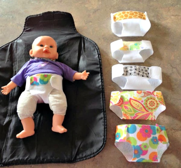 Easy Baby Doll Diapers Tutorial