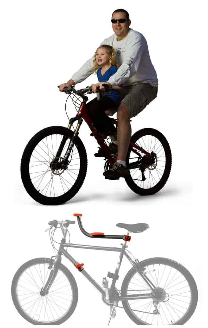 Tyke Todder bike mount that allows your child to ride with you on your bike