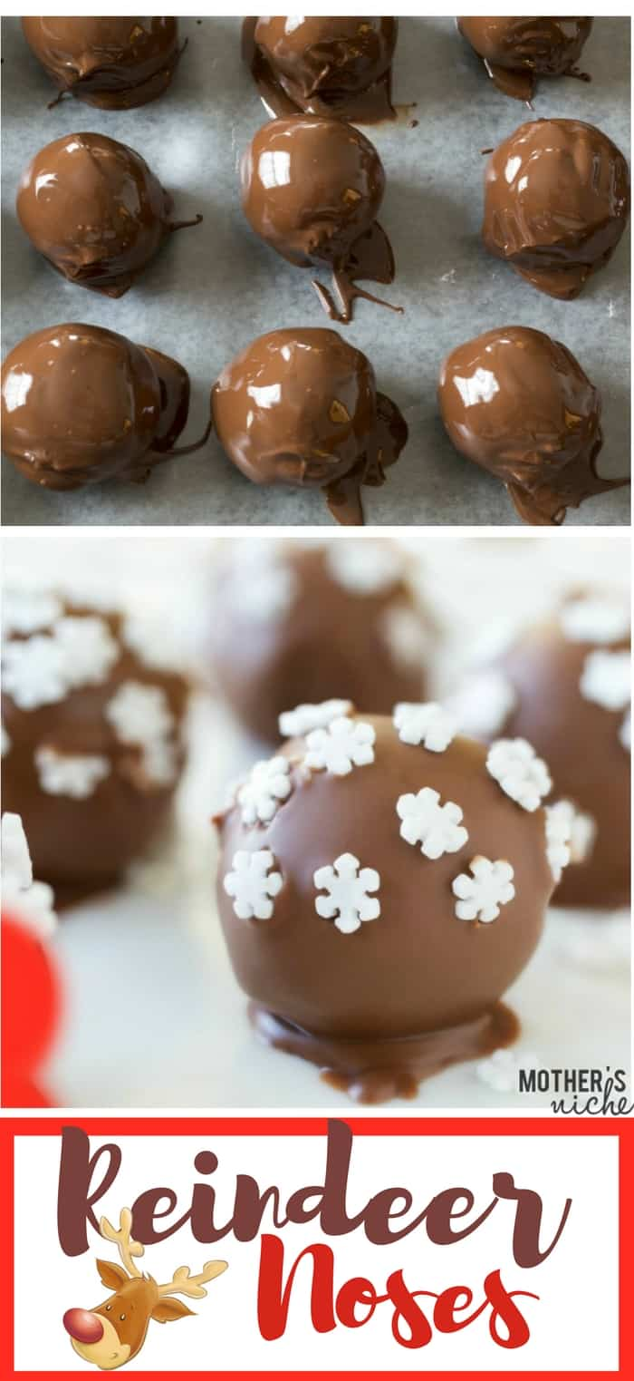 These Chocolate PB Reindeer Noses are easy to make and make a perfect neighbor gift for Christmas time, or a fun Christmas treat to make with the kids!