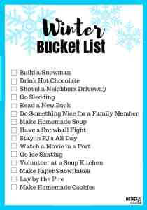 Creating Memories- A Winter Family Bucket List & Printable