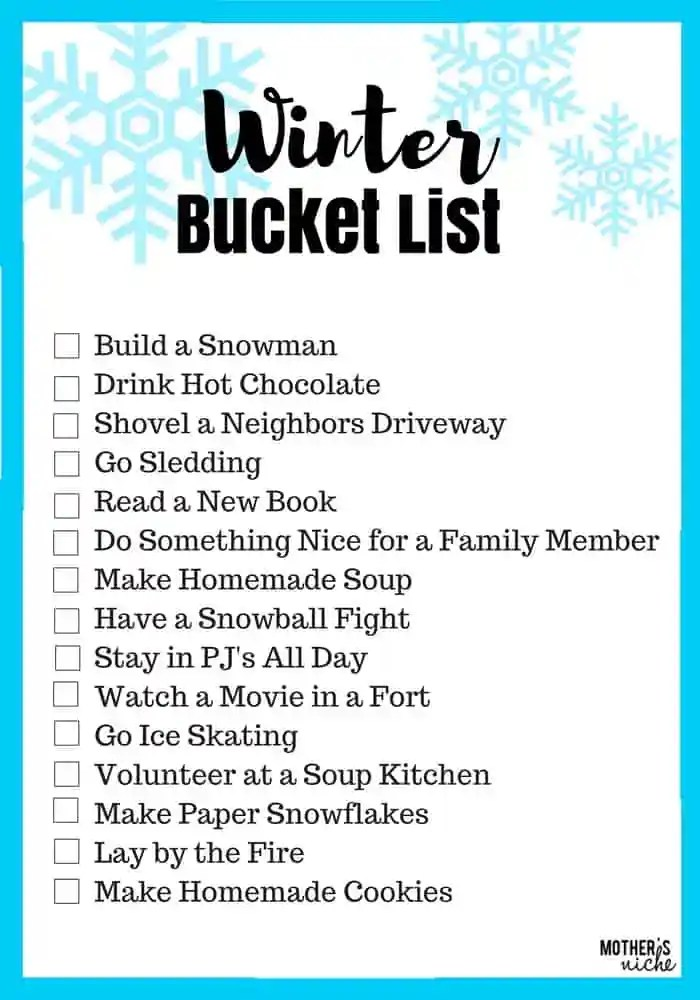 Free Printable Winter Bucket List